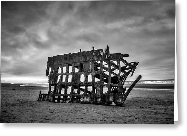 Weathered Rusting Shipwreck In Black And White Greeting Card by Garry Gay