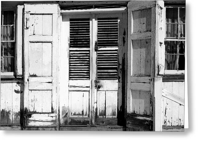 Old House Photographs Greeting Cards - Weathered White Doors Greeting Card by Perry Webster