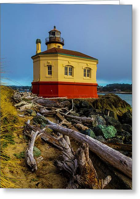 Weatherworn Coquille River Lighthouse Greeting Card by Garry Gay