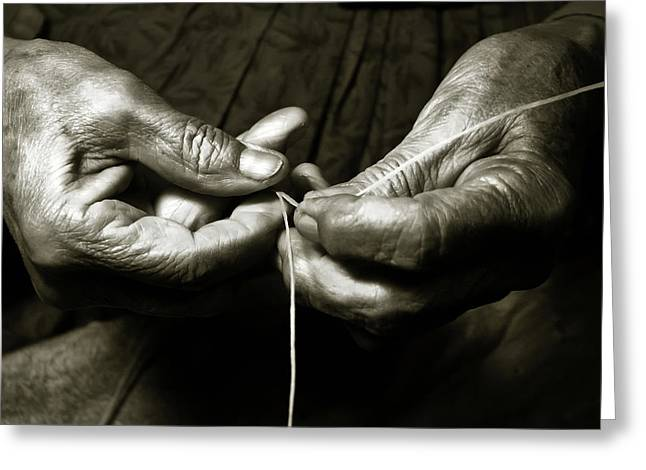 Greeting Card featuring the photograph Weavers Hands by John Hix