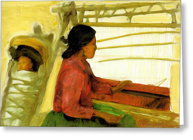 Greeting Card featuring the painting Weaving The Way by FeatherStone Studio Julie A Miller