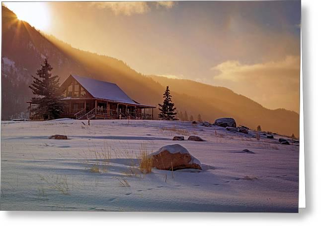 Weber Canyon Cabin Sunrise. Greeting Card
