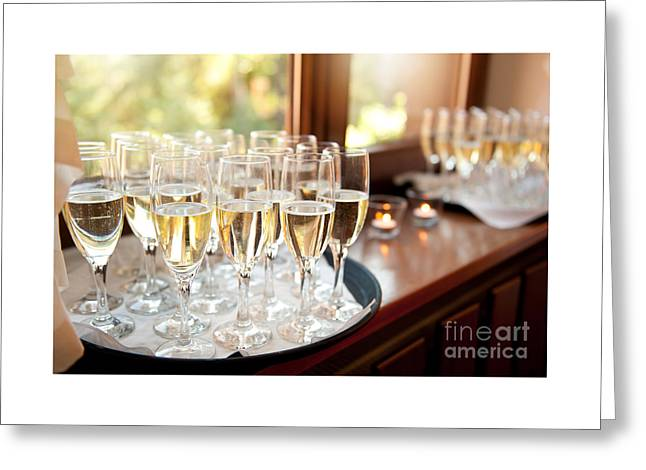 Wedding Banquet Champagne Glasses Greeting Card by Arletta Cwalina