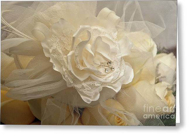 Wedding Bouquet And Veil Greeting Card by Kathleen K Parker