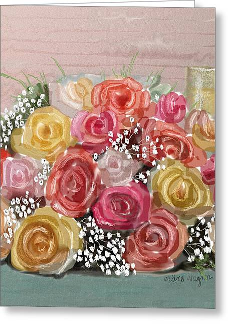 Wedding Bouquet Greeting Card by Arline Wagner