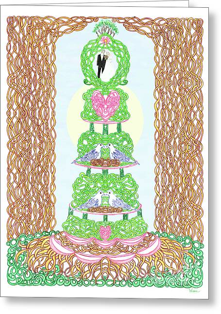 Greeting Card featuring the painting Wedding Cake With Doves by Lise Winne