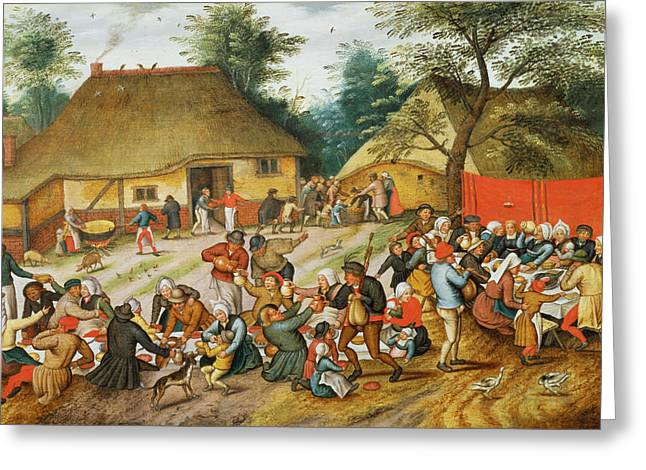 Wedding Feast Greeting Card by Pieter the Younger Brueghel