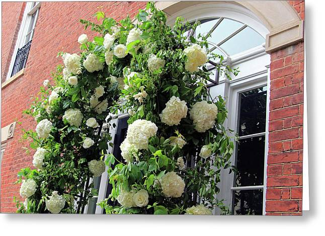 Wedding Flowers On Decatur House Greeting Card by Cora Wandel