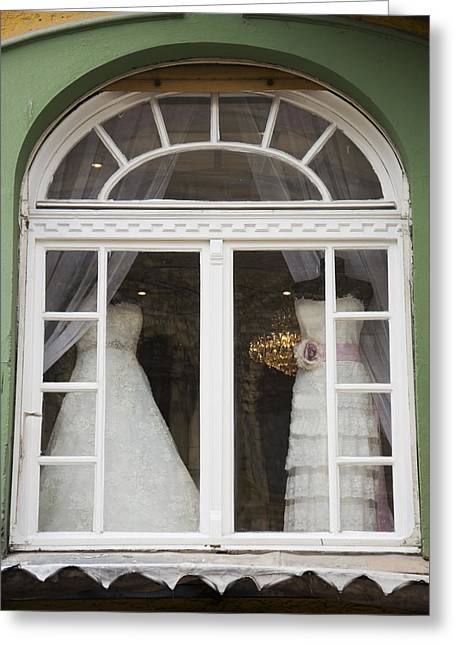 Wedding Gowns In Window Greeting Card