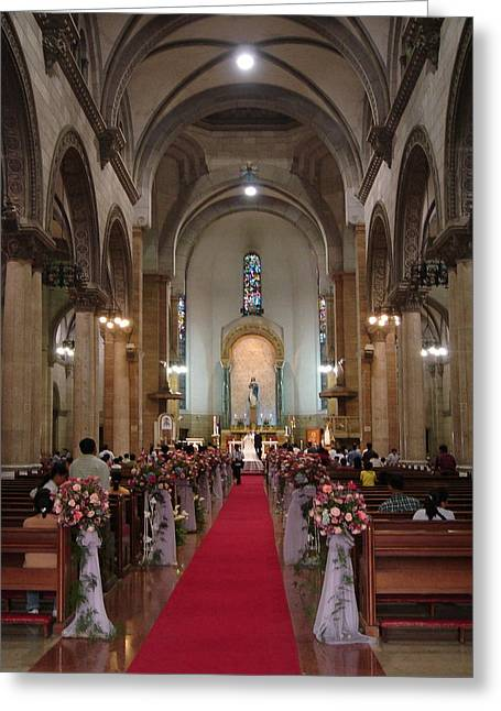 Wedding In Manila Cathedral Greeting Card by Mike Holloway