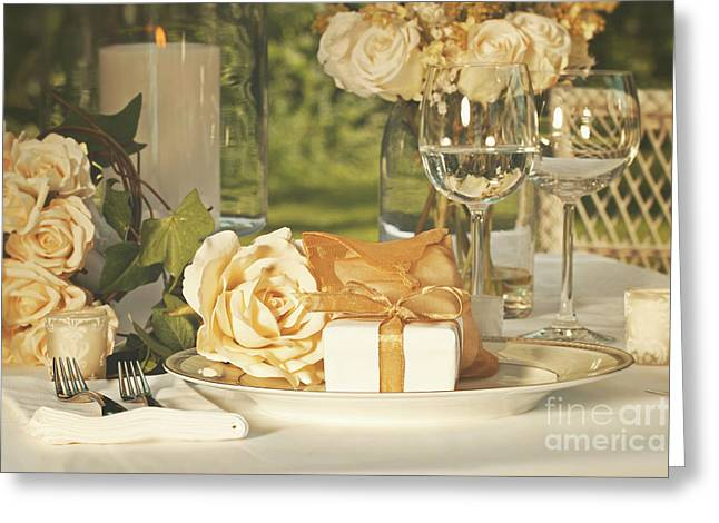 Catering Greeting Cards - Wedding party favors on plate at reception Greeting Card by Sandra Cunningham