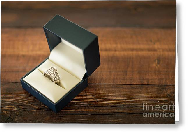 Wedding Ring In Box Horizontal Greeting Card by Taylor Martinsen