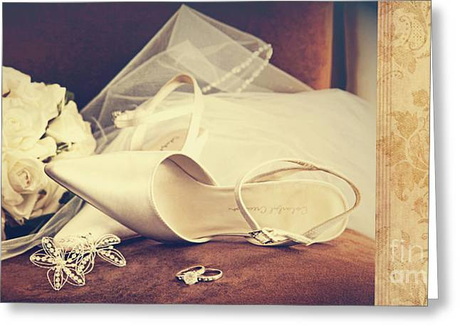 Elegant Bride Greeting Cards - Wedding shoes with veil on velvet chair Greeting Card by Sandra Cunningham