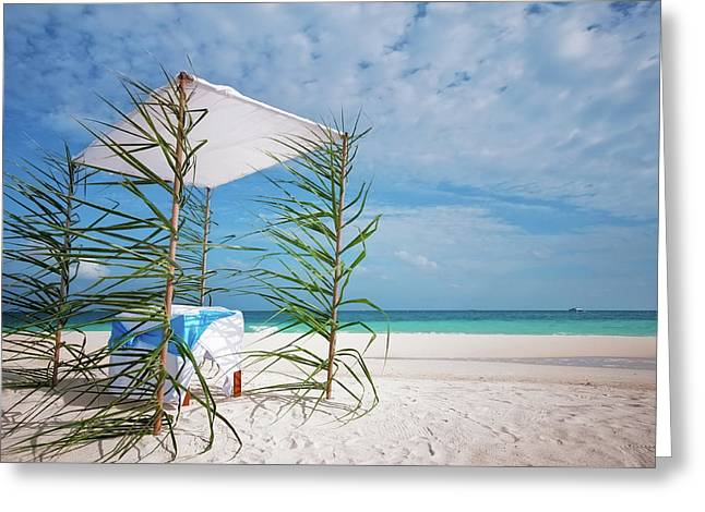 Greeting Card featuring the photograph Wedding Tent On The Beach by Jenny Rainbow