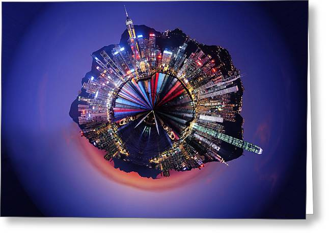Night Scenes Greeting Cards - Wee Hong Kong Planet Greeting Card by Nikki Marie Smith