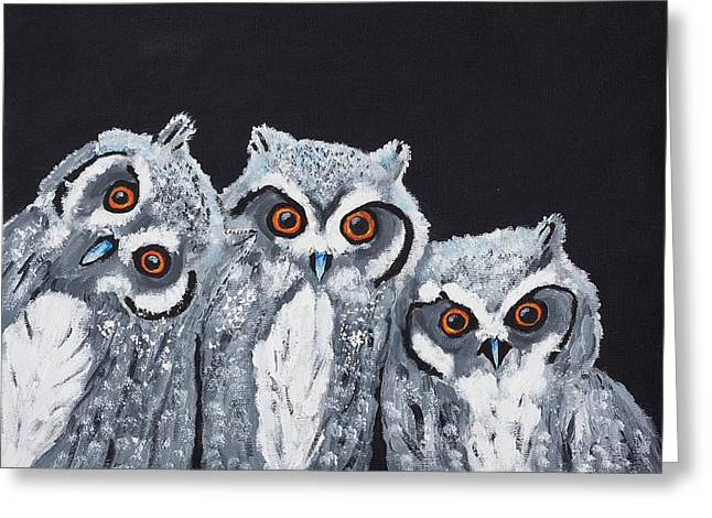 Wee Owls Greeting Card by Scott Wilmot