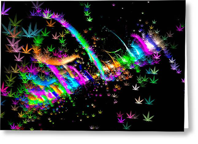 Weed Art - Colorful Fractal Joint Greeting Card