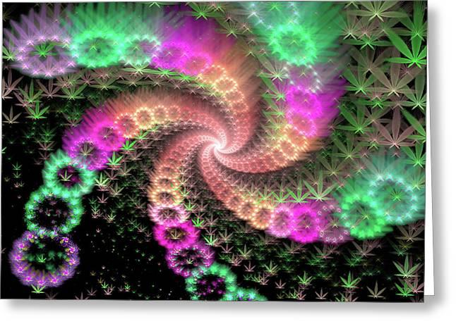 Weed Art Happy Colorful Marijuana Flowers Greeting Card by Matthias Hauser