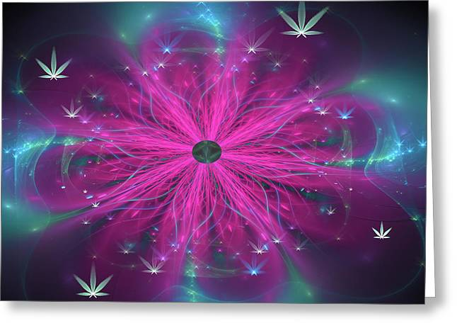 Weed Art Purple And Blue Fractal Cannabis Flower Greeting Card by Matthias Hauser