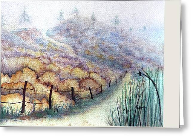 Weeds On A Hill, Carbon Canyon Greeting Card by Janice Sobien