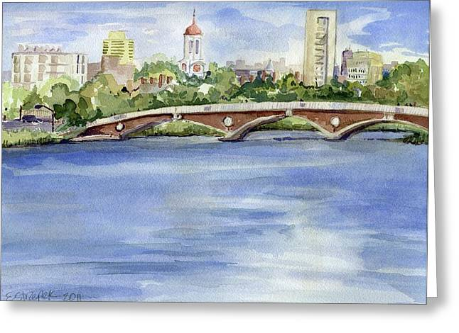 Charles River Paintings Greeting Cards - Weeks Footbridge over the Charles River Greeting Card by Erica Dale Strzepek