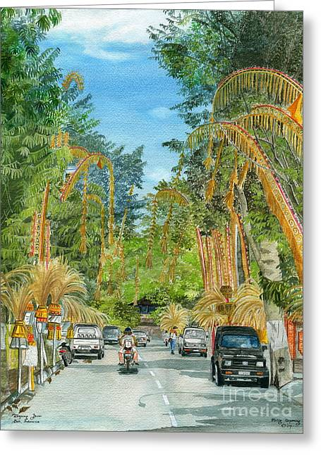 Greeting Card featuring the painting Weeping Janur Bali Indonesia by Melly Terpening