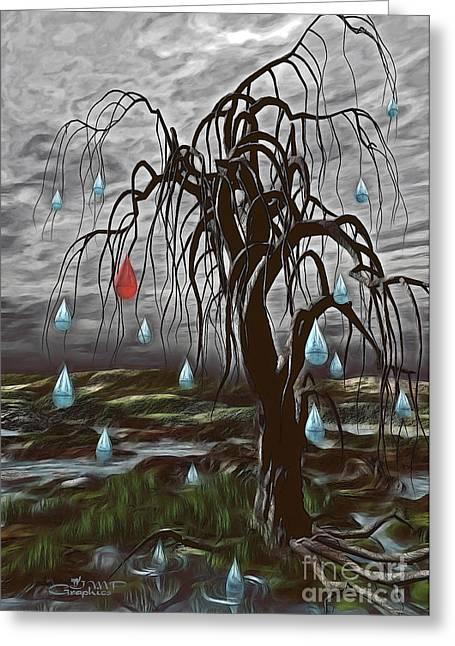 Weeping Tree Greeting Card by Jutta Maria Pusl