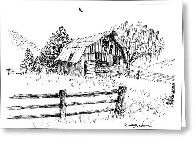 Weeping Willow And Barn One Greeting Card