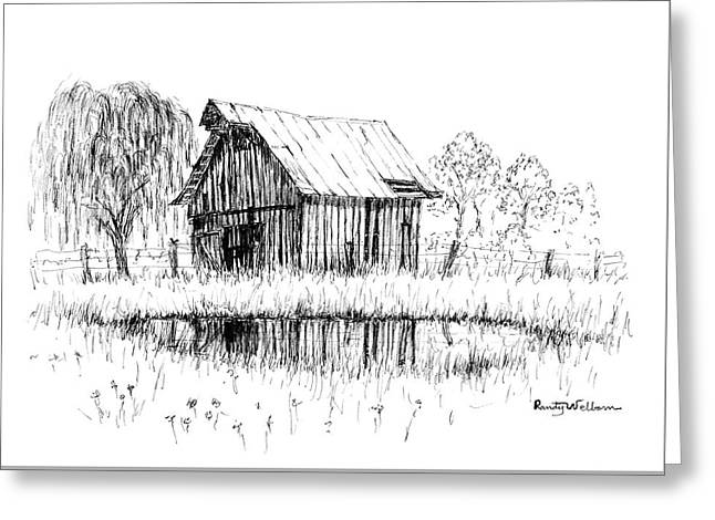 Weeping Willow And Barn Two Greeting Card