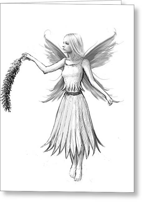 Weeping Willow Fairy With Catkin B And W Greeting Card