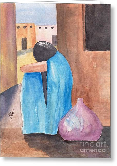 Weeping Woman  Greeting Card by Susan Kubes