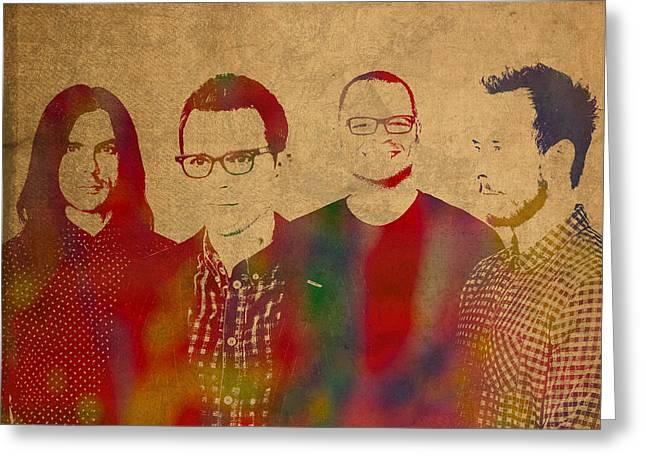 Weezer Rock Alternative Band Watercolor Portrait Greeting Card
