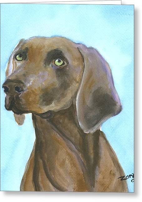 Weimarainer Dog Art Greeting Card