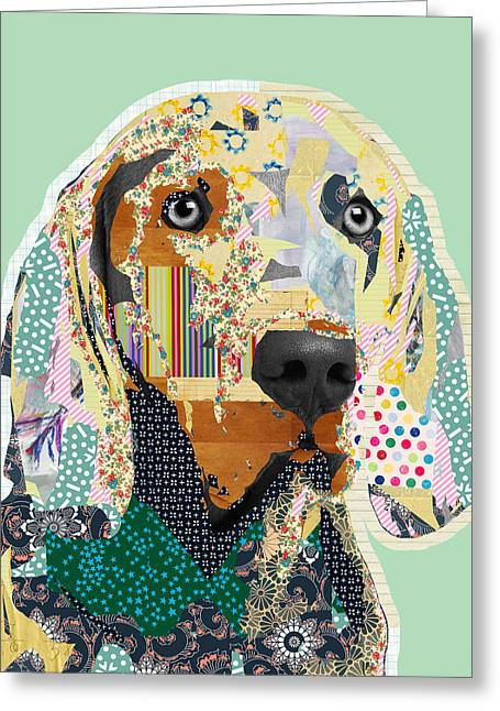 Weimaraner Collage Greeting Card by Claudia Schoen