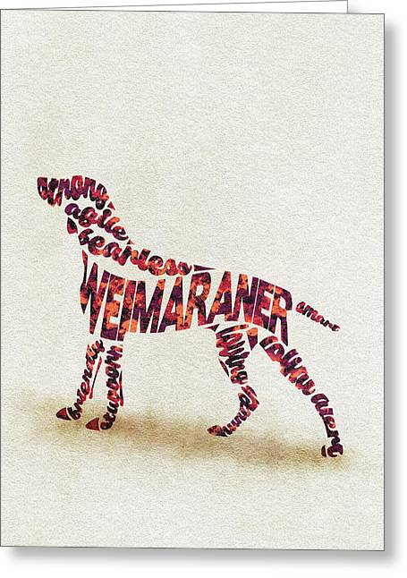 Weimaraner Watercolor Painting / Typographic Art Greeting Card