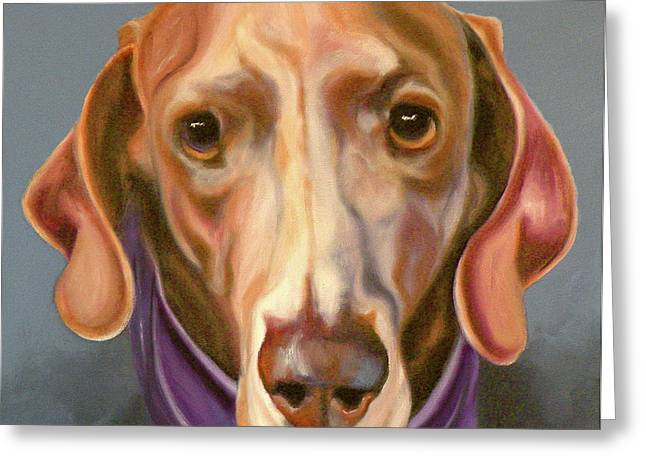 Dog Prints Drawings Greeting Cards - Weimaraner with Kerchief Greeting Card by Susan A Becker