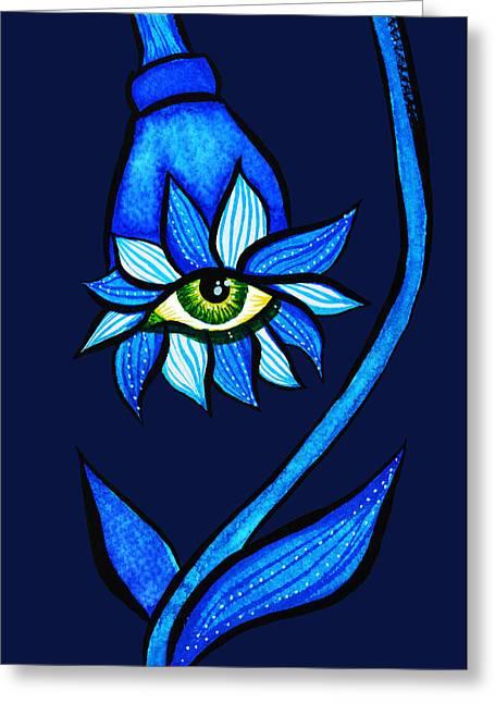Weird Blue Staring Creepy Eye Flower Greeting Card