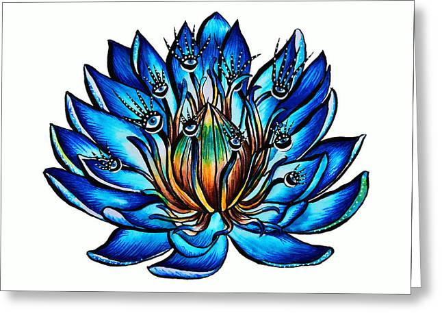 Weird Multi Eyed Blue Water Lily Flower Greeting Card