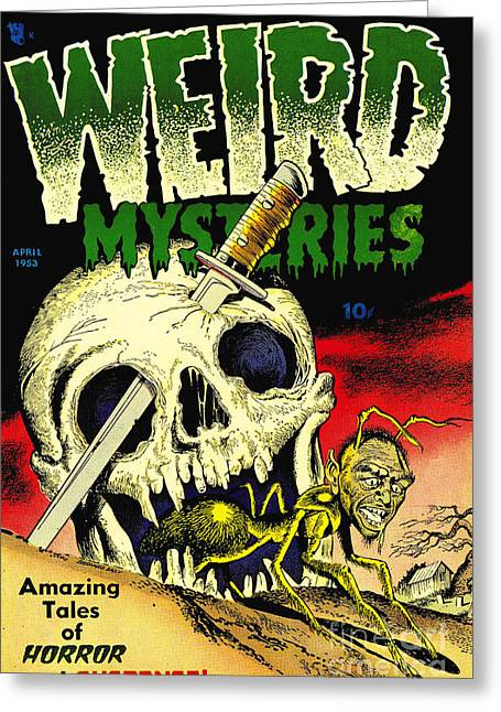 Weird Mysteries 1950s Horror Comic Book Greeting Card by Halloween Dreams