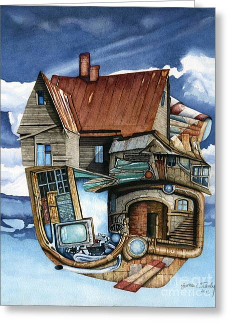 Weird Steampunk House Greeting Card by James Stanley