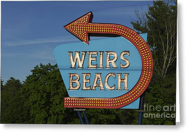 Weirs Beach Nh Sign - Color Greeting Card by David Gordon