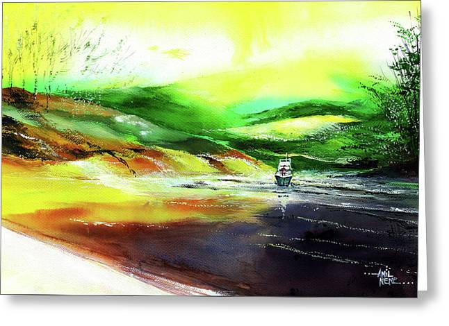 Greeting Card featuring the painting Welcome Back by Anil Nene