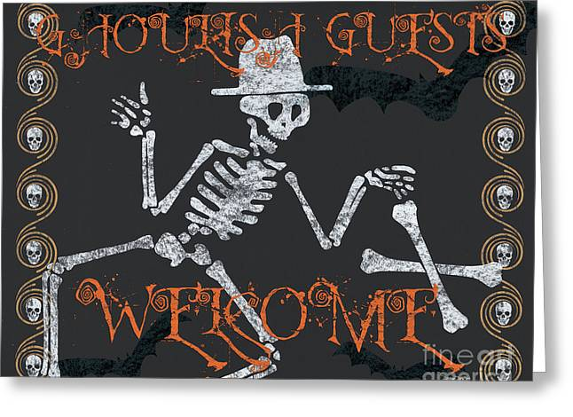 Welcome Ghoulish Guests Greeting Card by Debbie DeWitt