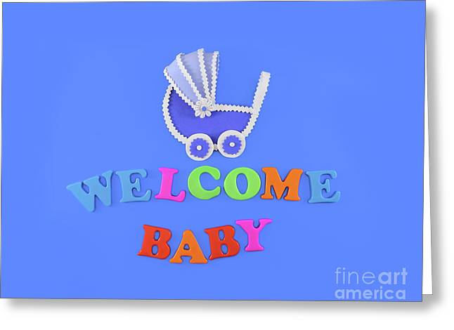 Welcome Home Baby In Flat Lay Style Greeting Card