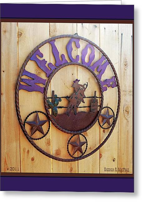 Welcome In Purple Greeting Card by Barbara MacPhail