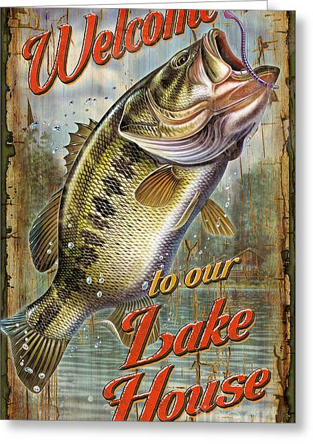 Welcome Lake House Sign Greeting Card by Jon Q Wright