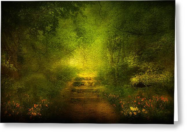 Fog Mixed Media Greeting Cards - Welcome Path Greeting Card by Svetlana Sewell