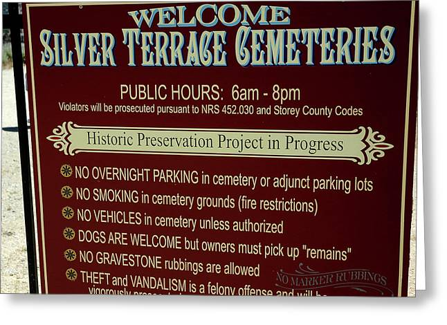Welcome Silver Terrace Cemeteries Greeting Card by LeeAnn McLaneGoetz McLaneGoetzStudioLLCcom
