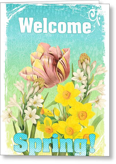 Welcome Spring Flowers-jp2775 Greeting Card by Jean Plout