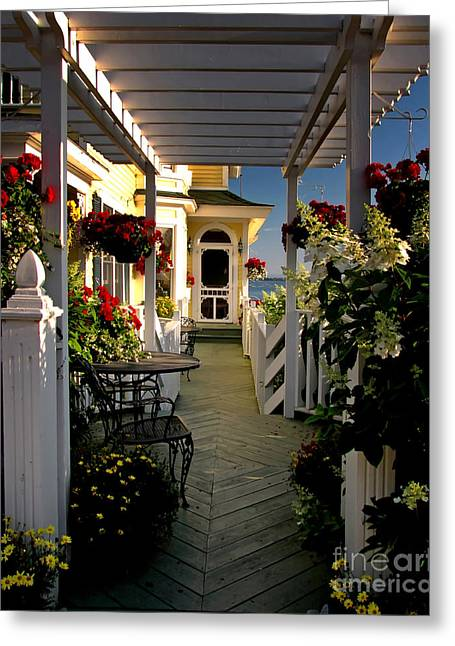 Welcome To Bay View Inn On Mackinac Island Greeting Card